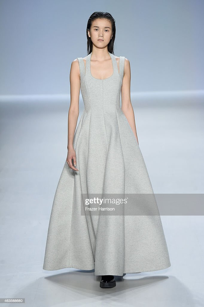 A model walks the runway at the Taoray Wang fashion show during Mercedes-Benz Fashion Week Fall 2015 at The Salon at Lincoln Center on February 16, 2015 in New York City.