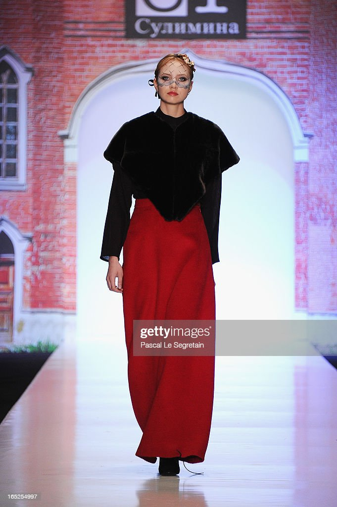 A model walks the runway at the Tatiana Sulimina show during Mercedes-Benz Fashion Week Russia Fall/Winter 2013/2014 at Manege on April 2, 2013 in Moscow, Russia.