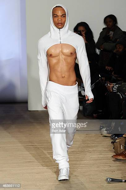 A model walks the runway at the Teflar show during MercedesBenz Fashion Week Fall 2015 at Artists Space on February 15 2015 in New York City