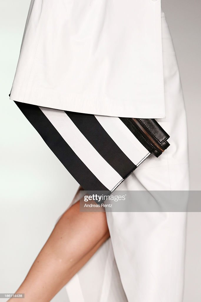 A model walks the runway (detail) at the Tel Aviv Fashion Week Collections show during Mercedes-Benz Fashion Week Russia S/S 2014 on October 28, 2013 in Moscow, Russia.
