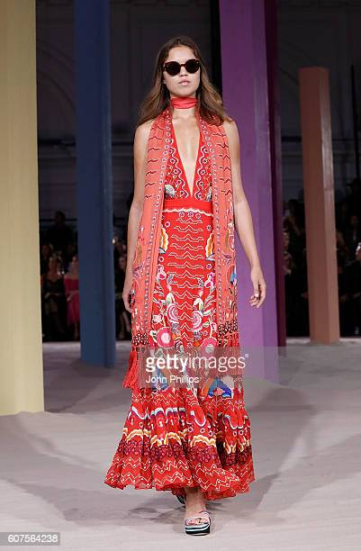 A model walks the runway at the Temperley London show during London Fashion Week Spring/Summer collections 2017 on September 18 2016 in London United...