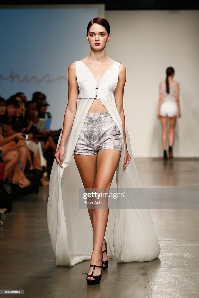 A model walks the runway at the Tess Johnson show during Nolcha Fashion Week New York Spring/Summer 2014 presented by RUSK at Pier 59 Studios on...