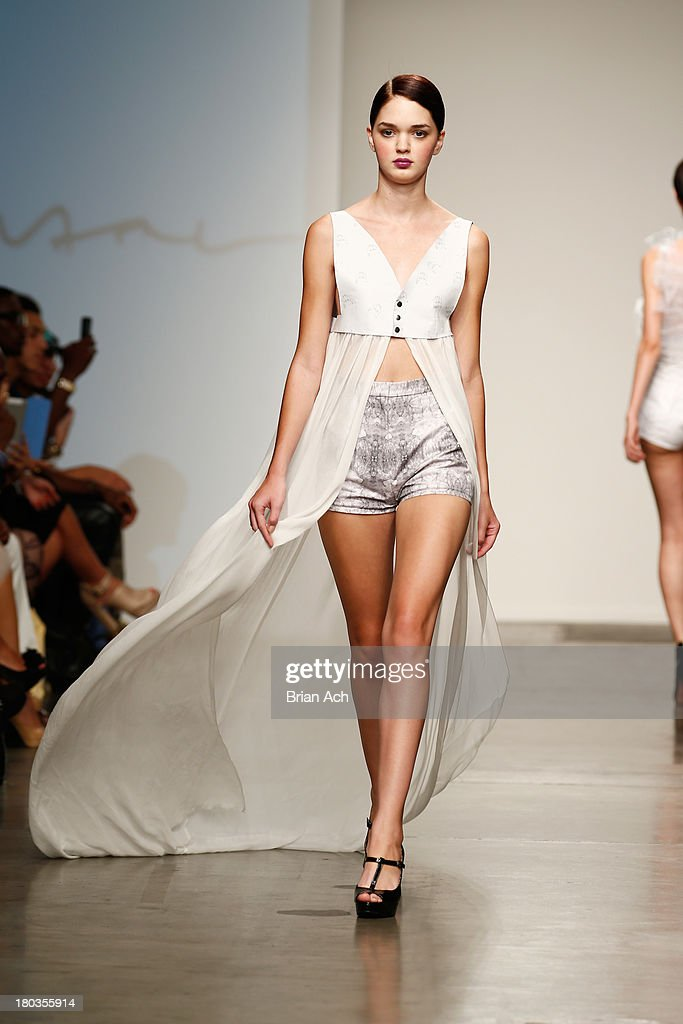 A model walks the runway at the Tess Johnson show during Nolcha Fashion Week New York Spring/Summer 2014 presented by RUSK at Pier 59 Studios on September 11, 2013 in New York City.