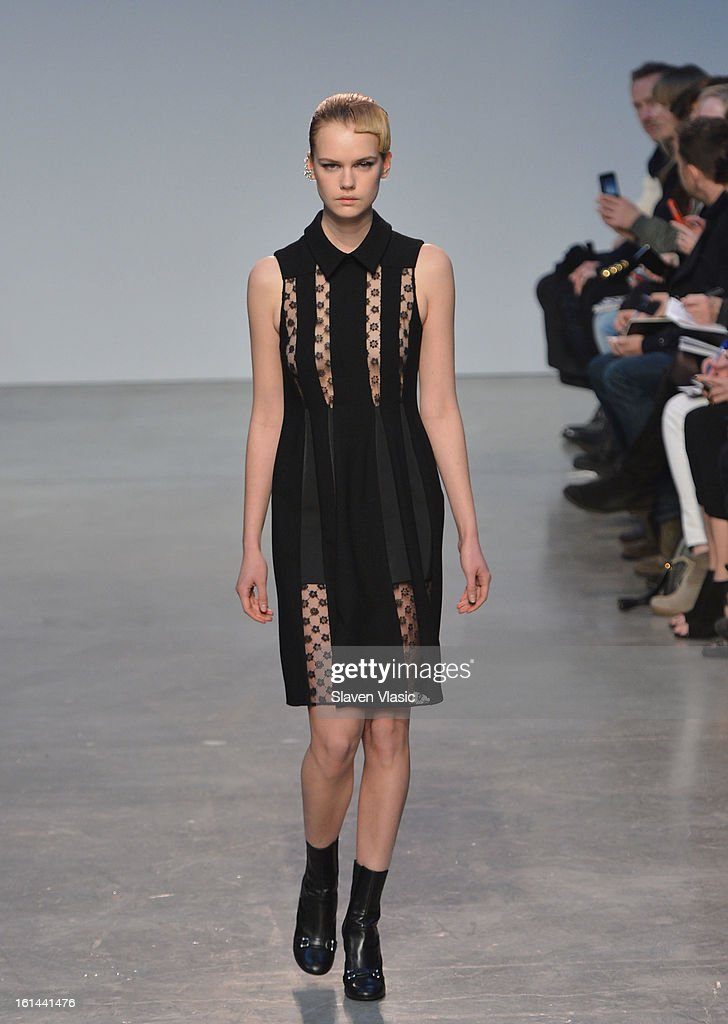 A model walks the runway at the Thakoon fall 2013 fashion show during Mercedes-Benz Fashion Week at the Dia Art Foundation on February 10, 2013 in New York City.