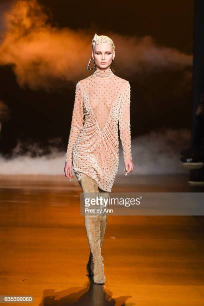 A model walks the runway at the The Blonds show during New York Fashion Week Presented By MADE at Skylight Clarkson Sq on February 14 2017 in New...