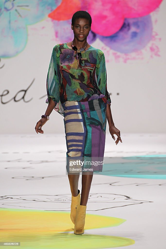 A model walks the runway at The Theatre at Lincoln Center on February 12 2015 in New York City