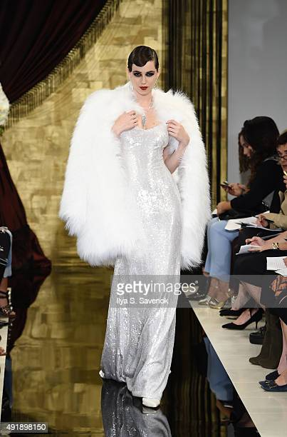 A model walks the runway at the Theia Bridal Fall/Winter 2016 fashion show on October 8 2015 in New York City