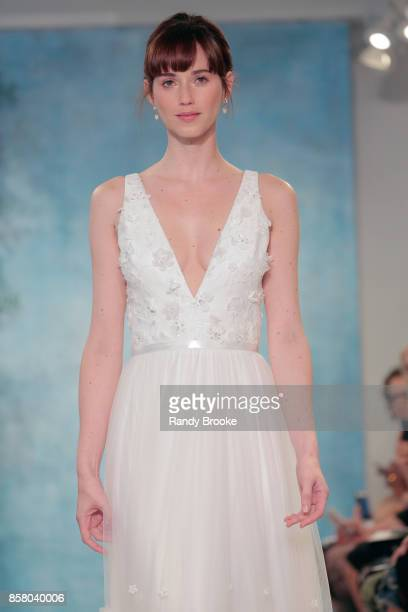 A model walks the runway at the Theia Bridal Show during New York Fashion Week Bridal October 2017 at Theia Showroom on October 5 2017 in New York...