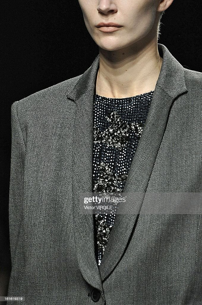 A model (Detail) walks the runway at the Theyskens' Theory Ready to Wear Fall/Winter 2013-2014 fashion show during Mercedes-Benz Fashion Week at Skylight at Moynihan Station on February 11, 2013 in New York City.