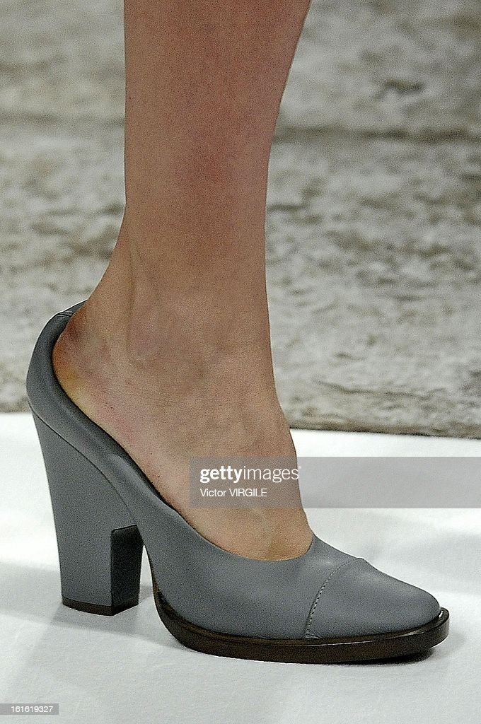 A model (High Heel Detail) walks the runway at the Theyskens' Theory Ready to Wear Fall/Winter 2013-2014 fashion show during Mercedes-Benz Fashion Week at Skylight at Moynihan Station on February 11, 2013 in New York City.