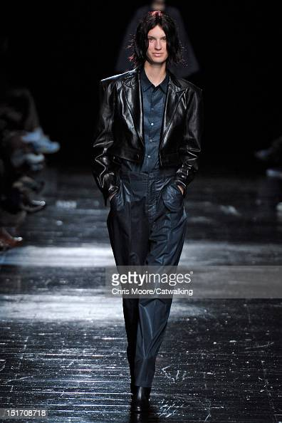 A model walks the runway at the Theyskens' Theory Spring Summer 2013 fashion show during New York Fashion Week on September 10 2012 in New York...