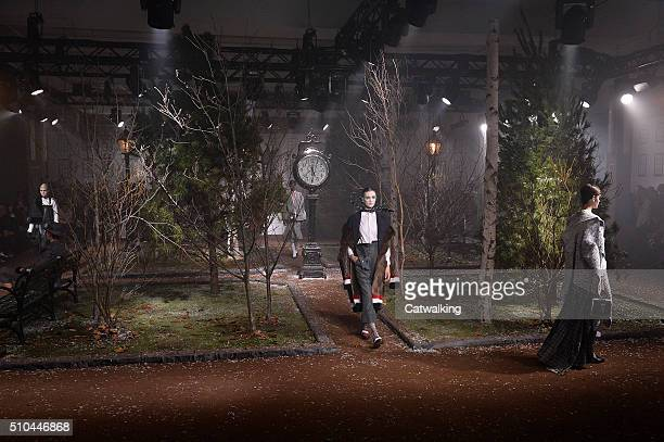 A model walks the runway at the Thom Browne Autumn Winter 2016 fashion show during New York Fashion Week on February 15 2016 in New York United States