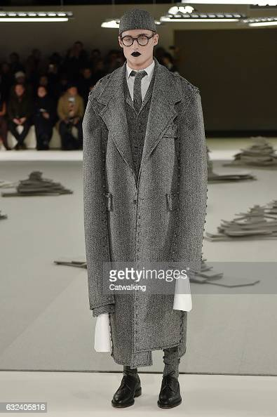 A model walks the runway at the Thom Browne Autumn Winter 2017 fashion show during Paris Menswear Fashion Week on January 22 2017 in Paris France