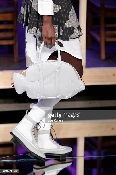 A model walks the runway at the Thom Browne Spring 2016 fashion show during New York Fashion Week at Skylight Modern on September 14 2015 in New York...