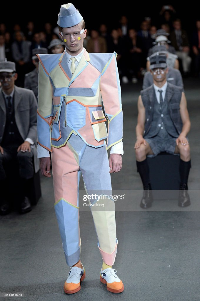 A model walks the runway at the Thom Browne Spring Summer 2015 fashion show during Paris Menswear Fashion Week on June 29, 2014 in Paris, France.