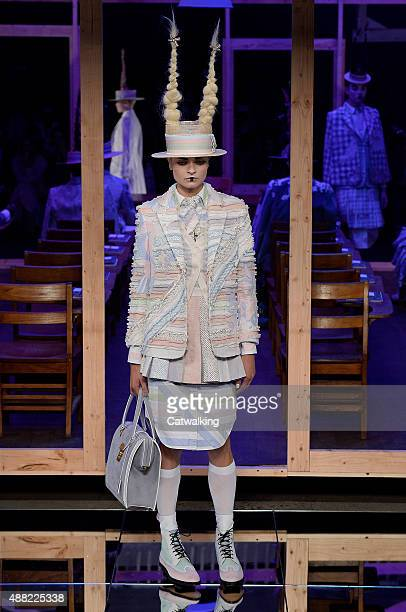 A model walks the runway at the Thom Browne Spring Summer 2016 fashion show during New York Fashion Week on September 14 2015 in New York United...
