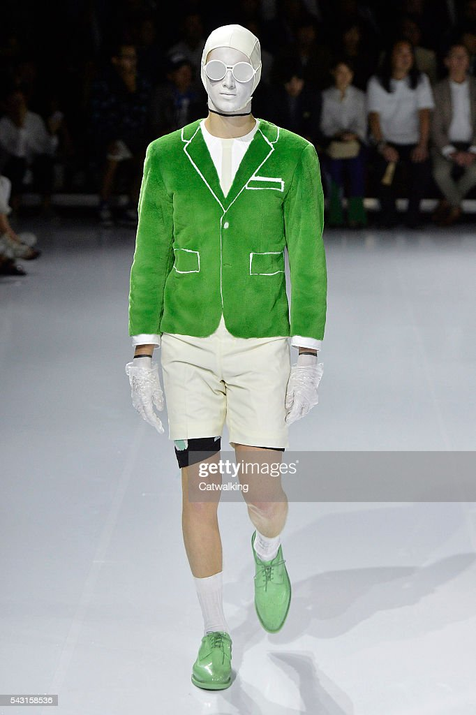 A model walks the runway at the Thom Browne Spring Summer 2017 fashion show during Paris Menswear Fashion Week on June 26, 2016 in Paris, France.