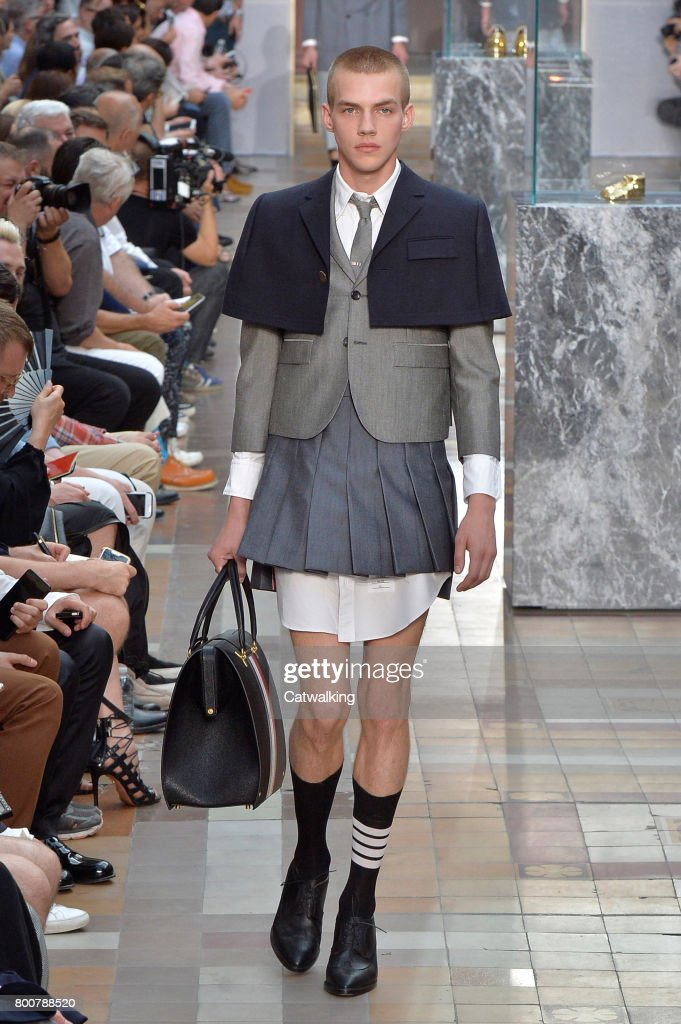 model-walks-the-runway-at-the-thom-browne-spring-summer-2018-fashion-picture-id800788520