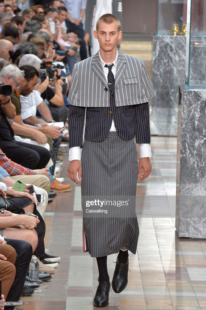 model-walks-the-runway-at-the-thom-browne-spring-summer-2018-fashion-picture-id800788954