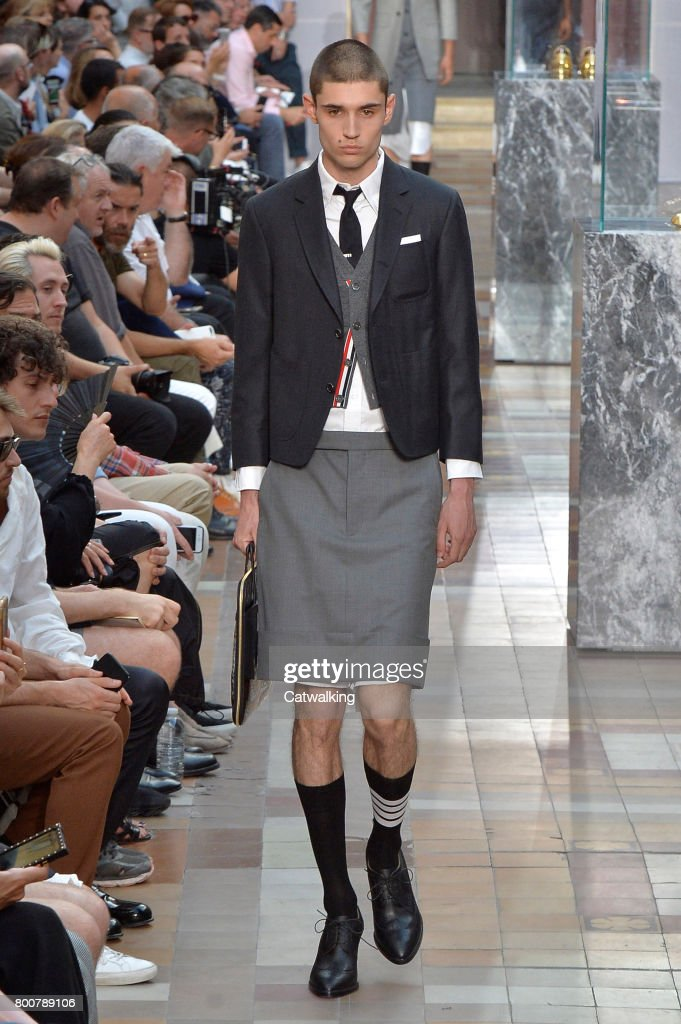 model-walks-the-runway-at-the-thom-browne-spring-summer-2018-fashion-picture-id800789106