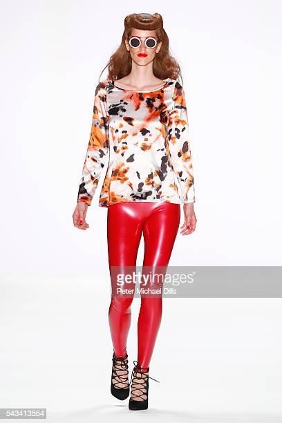 A model walks the runway at the Thomas Hanisch show during the MercedesBenz Fashion Week Berlin Spring/Summer 2017 at Erika Hess Eisstadion on June...