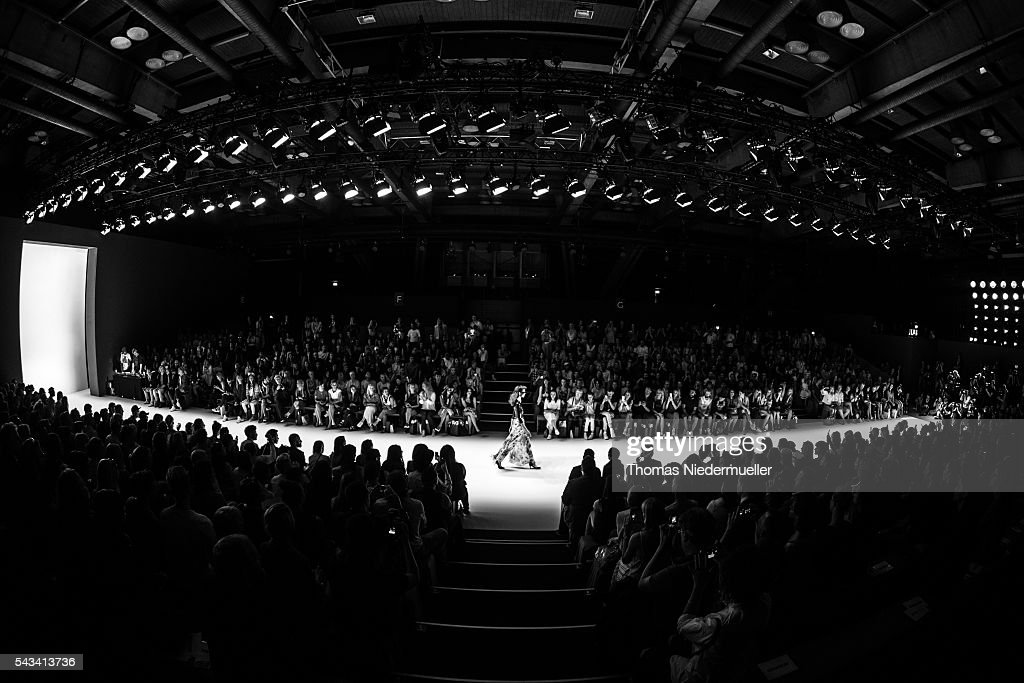 A model walks the runway at the Thomas Hanisch show during the Mercedes-Benz Fashion Week Berlin Spring/Summer 2017 at Erika Hess Eisstadion on June 28, 2016 in Berlin, Germany.
