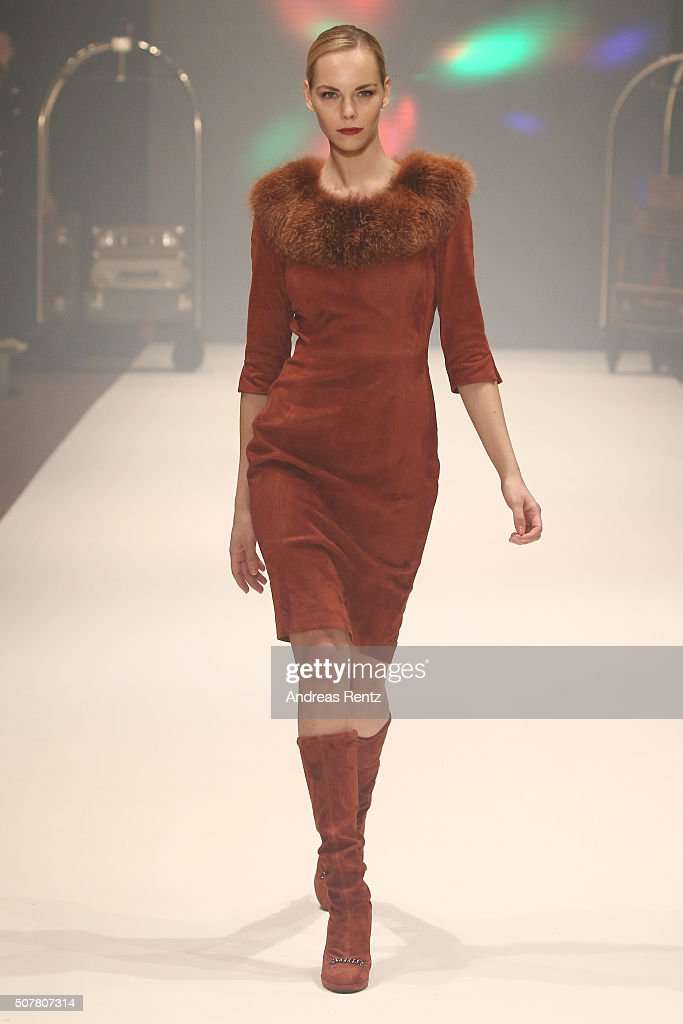 A model walks the runway at the Thomas Rath show during Platform Fashion January 2016 at Areal Boehler on January 31 2016 in Duesseldorf Germany