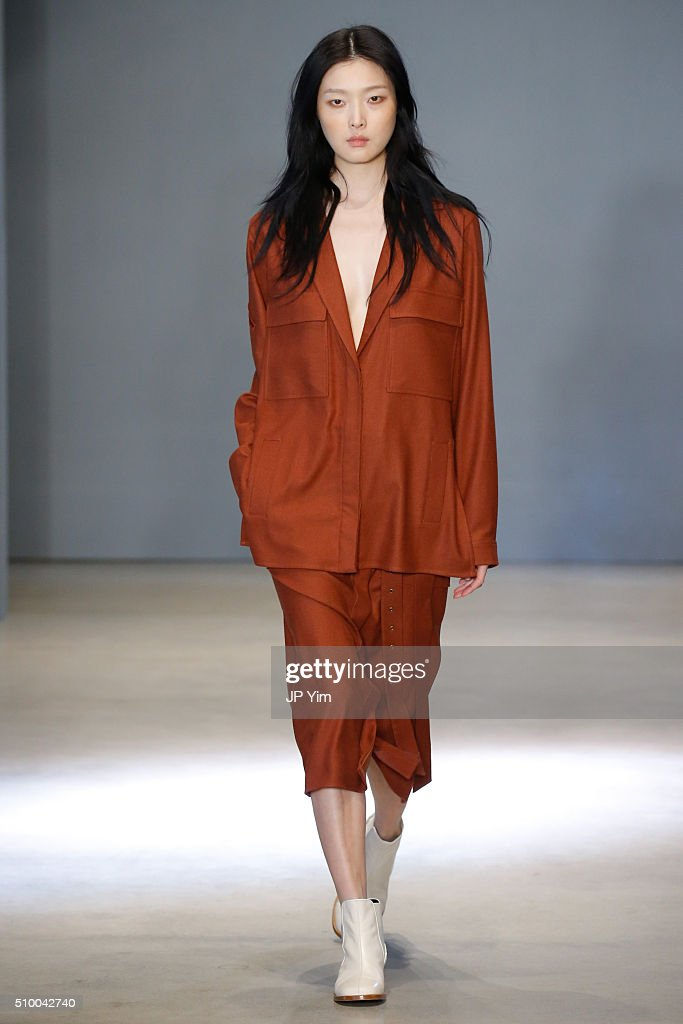 A model walks the runway at the Tibi fashion show during Fall 2016 New York Fashion Week at Skylight 60 Tenth on February 13, 2016 in New York City.