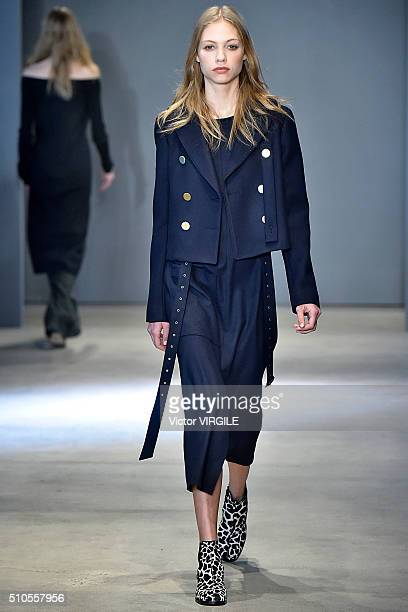 A model walks the runway at the Tibi fashion show during Fall 2016 New York Fashion Week at Skylight 60 Tenth on February 13 2016 in New York City