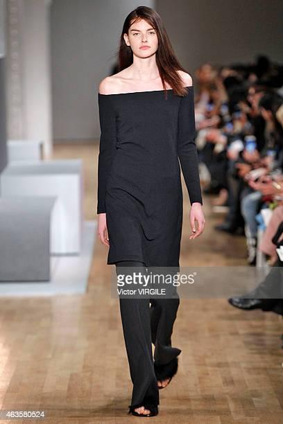 A model walks the runway at the Tibi fashion show during MercedesBenz Fashion Week Fall 2015 on February 14 2015 in New York City