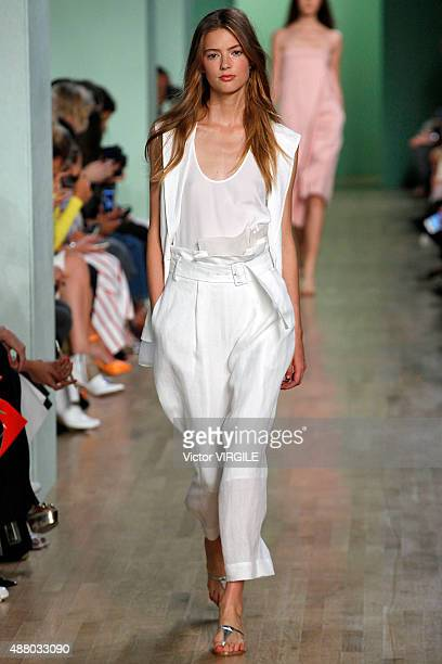 A model walks the runway at the Tibi fashion show during Spring Summer 2016 New York Fashion Week on September 12 2015 in New York City