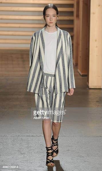 Model walks the runway at the Tibi runway show during MercedesBenz Fashion Week Spring 2015 at the Highline Stages on September 6 2014 in New York...