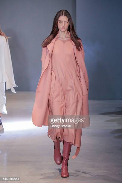 A model walks the runway at the Tibi Runway show for Fall 2016 New York Fashion Week at Skylight 60 Tenth on February 13 2016 in New York City