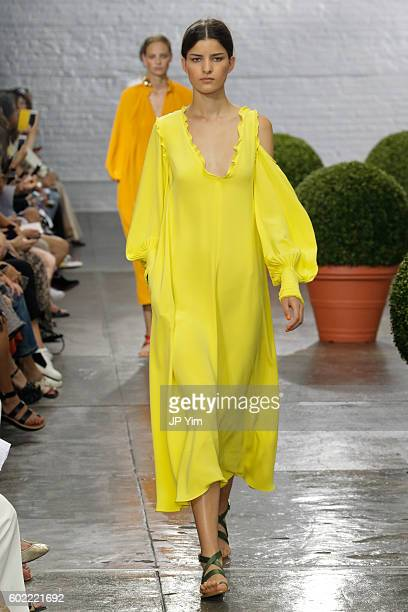 A model walks the runway at the Tibi S/S 2017 fashion show during New York Fashion Week September 2016 at Industria Studios on September 10 2016 in...