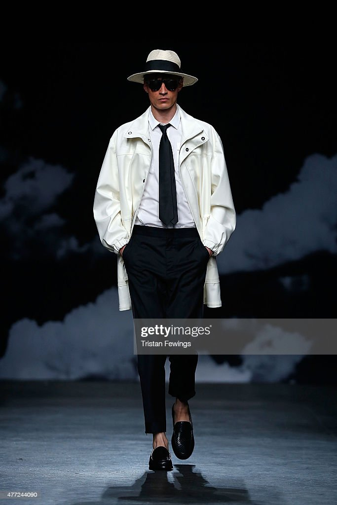 A model walks the runway at the Tiger Of Sweden show during The London Collections Men SS16 at The Old Sorting Office on June 15 2015 in London...