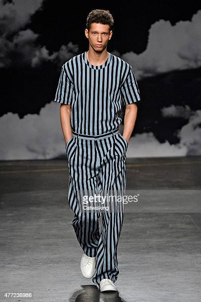 A model walks the runway at the Tiger of Sweden Spring Summer 2016 fashion show during London Menswear Fashion Week on June 15 2015 in London United...
