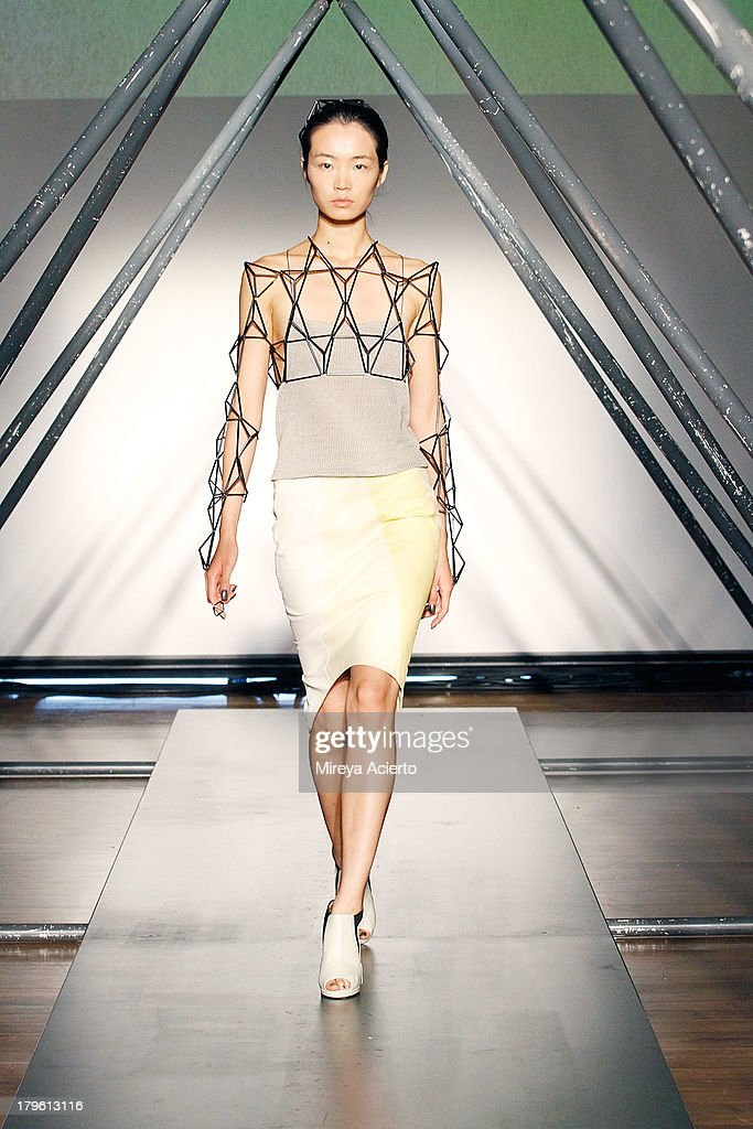 A model walks the runway at the Titania Inglis presentation during Mercedes-Benz Fashion Week Spring 2014 at The Standard Hotel - High Line Room on September 5, 2013 in New York City.