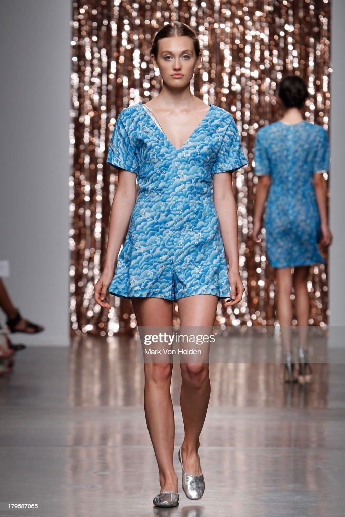 A model walks the runway at the Tocca fashion show during Mercedes-Benz Fashion Week at Pier 59 on September 5, 2013 in New York City.