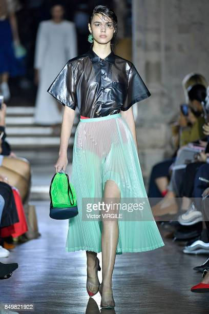 A model walks the runway at the TOGA Ready to Wear Spring/Summer 2018 fashion show during London Fashion Week September 2017 on September 18 2017 in...