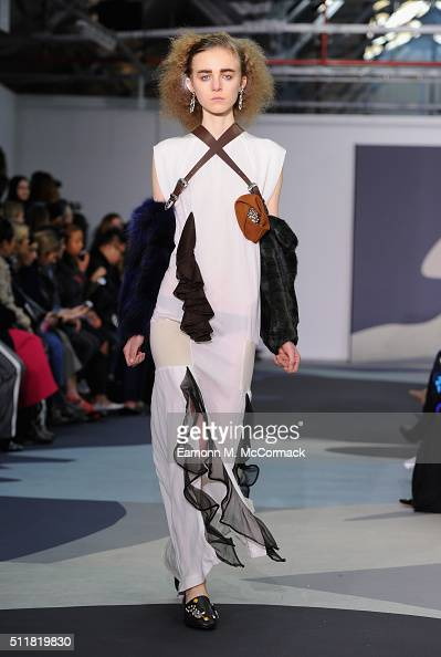 A model walks the runway at the Toga show during London Fashion Week Autumn/Winter 2016/17 at Brewer Street Car Park on February 23 2016 in London...
