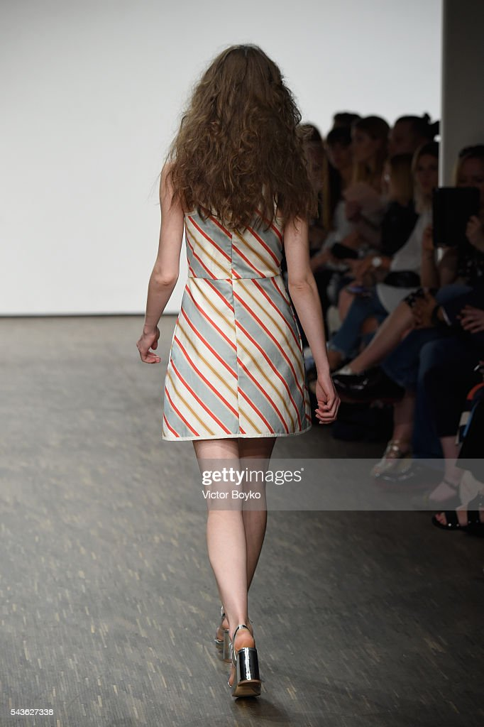 A model walks the runway at the Tomcsanyi show during the Mercedes-Benz Fashion Week Berlin Spring/Summer 2017 at Stage at me Collectors Room on June 29, 2016 in Berlin, Germany.