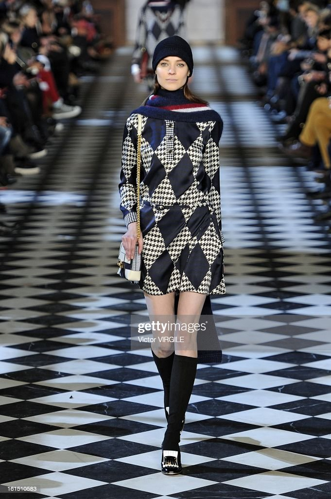 A model walks the runway at the Tommy Hilfiger Women's Ready to Wear Fall/Winter 2013-2014 fashion show during Mercedes-Benz Fashion Week at Park Avenue Armory on February 10, 2013 in New York City.
