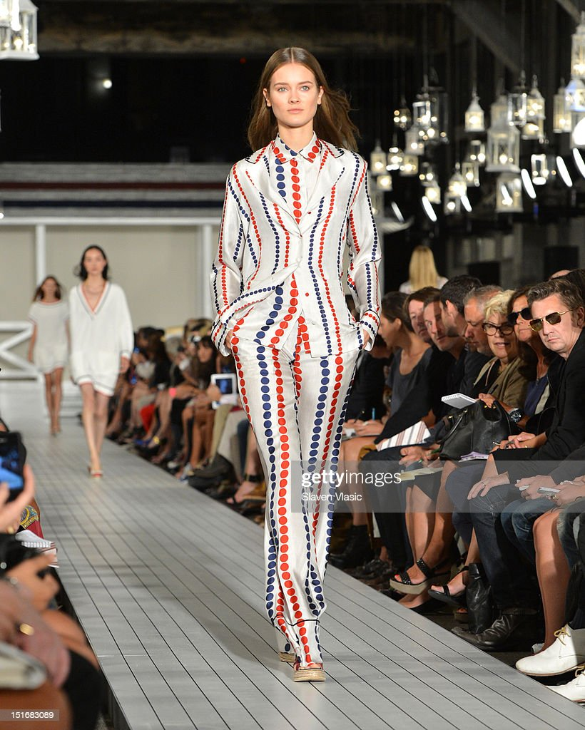 A model walks the runway at the Tommy Hilfiger Women's Spring 2013 fashion show during Mercedes-Benz Fashion Week at The Highline on September 9, 2012 in New York City.