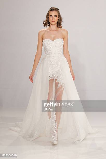 A model walks the runway at the Tony Ward For Kleinfeld Fall 2016 Bridal Collection at Kleinfeld on April 18 2016 in New York City