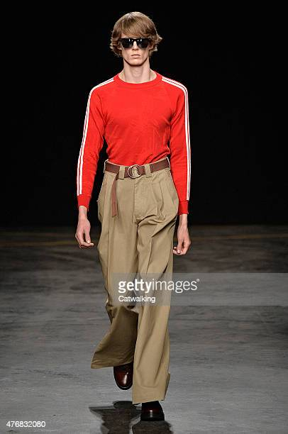 A model walks the runway at the Topman Design Spring Summer 2016 fashion show during London Menswear Fashion Week on June 12 2015 in London United...