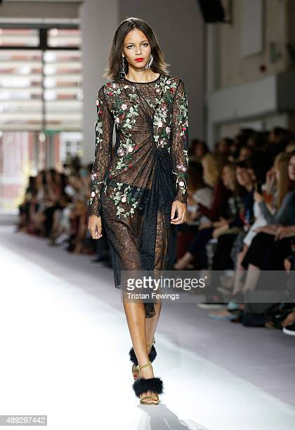 A model walks the runway at the Topshop Unique show during London Fashion Week Spring/Summer 2016 on September 20 2015 in London England