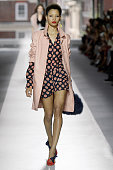A model walks the runway at the Topshop Unique Spring Summer 2016 fashion show during London Fashion Week on September 20 2015 in London United...