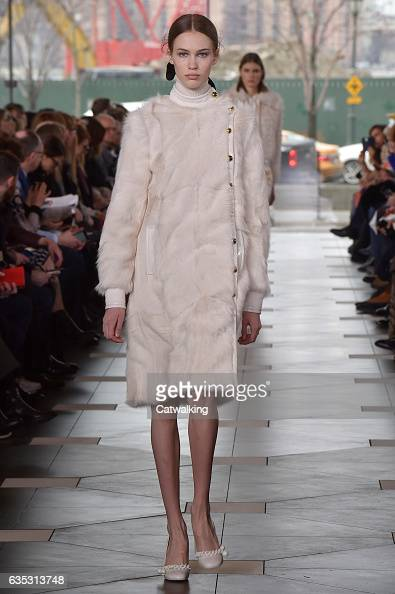 A model walks the runway at the Tory Burch Autumn Winter 2017 fashion show during New York Fashion Week on February 14 2017 in New York United States