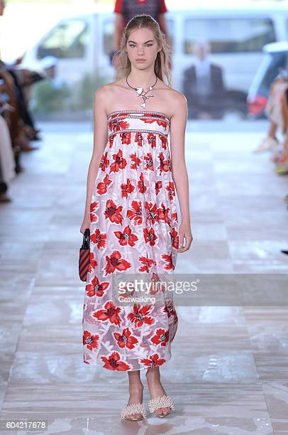 A model walks the runway at the Tory Burch Spring Summer 2017 fashion show during New York Fashion Week on September 13 2016 in New York United States