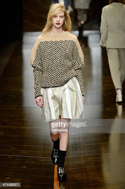 A model walks the runway at the Trussardi Autumn Winter 2014 fashion show during Milan Fashion Week on February 23 2014 in Milan Italy